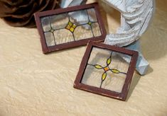 Items similar to Dollhouse shabby stainedn glass window - Yellow Flower on Etsy