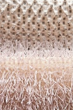 Detail, woven textiles by British fiber artist and textile designer Sophie Manners. via Texprint 2014 Weaving Textiles, Textile Fabrics, Weaving Art, Tapestry Weaving, Textile Art, Hand Weaving, Fabric Decor, Fabric Art, Leather Embroidery