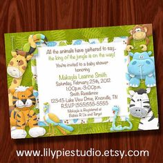printable jungle baby shower invitation