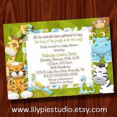 printable jungle baby shower invitation
