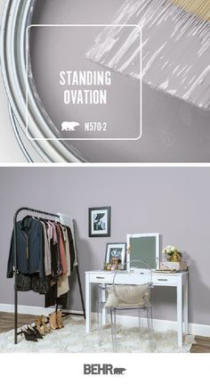 Behr Paint in Standing Ovation is a dusty, almost neutral lilac color, . - paint colors neutral Behr Paint in Standing Ovation is a dusty, almost neutral lilac color, . Behr Paint Colors, Bedroom Paint Colors, Paint Colors For Living Room, Paint Colors For Home, House Colors, Best Color For Bedroom, Best Bathroom Paint Colors, Office Paint Colors, Wall Colors