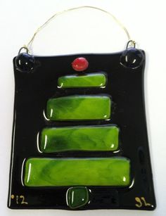 Fused Glass Christmas Tree Hanging Decoration. by Linesdesigns9343, $8.00
