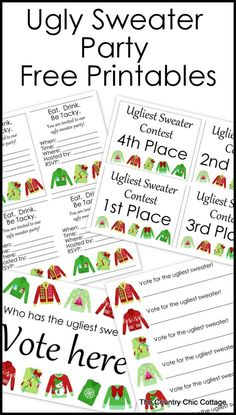 Sweater Party Free Printables Free printable party pack for your ugly sweater party! Grab invitations, awards and more!Free printable party pack for your ugly sweater party! Grab invitations, awards and more! Tacky Christmas Party, Office Christmas Party, Christmas Party Invitations, Xmas Party, Holiday Parties, Christmas Ideas, Christmas Games, Christmas 2017, Family Christmas