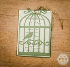 bespoke birdcage with swinging cover invitation designed by Holly at Made By Hol.   Sage Green, Twine, Bird Cage, Birdcage, Birdcage Invite, Wedding Invite,