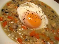 Chicken and Mushroom Chowder with poached egg, easy way to stretch dinner