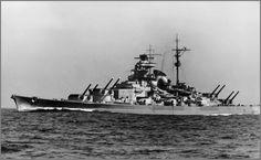 German Battleship Tirpitz with guns trained, 1941.