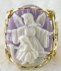 R106 Angel Girl Artisan Cameo Ring 14k Rolled Gold Lavender