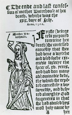 Agnes Waterhouse (c. July The first woman executed for witchcraft in England. Put on trial in 1566 in Chelmsford, England, Agnes was accused of witchcraft along with her sister Elizabeth and her daughter Joan. Agnes Waterhouse, Gaelic Baby Names, Witch History, Early Modern Period, Unusual Baby Names, Witch Trials, Letter T, Pretty Baby, Witchcraft