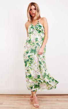 Floral Halter Neck Maxi - SilkFred