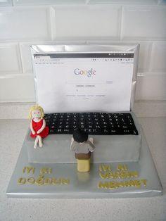 """""""Bilgisayar"""" Temalı Butik Doğumgünü Pastası.! Computer birthday cake.!"""