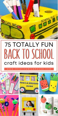 Get your kids excited about back to school with these super cute Back To School Crafts for kids. These crafts are perfect for home and classroom use and are the best way to welcome the new school year. Back To School Art Activity, Back To School Crafts For Kids, Diy Back To School, Crafts For Kids To Make, School Fun, School Ideas, Art Activities For Kids, Craft Projects For Kids, Toddler Activities