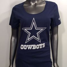 74cb5a350 Dallas Cowboys Nike Women s NFL Charged Up M Athletic Cut Scoop Neck T-Shirt