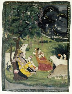 """brooklynmuseum: """" This painting depicts the Hindu god Krishna sitting beneath a tree while his beloved, Radha, runs to join him, seeking shelter from an impending storm. The storm is emblematic of. Mughal Miniature Paintings, Mughal Paintings, Indian Paintings, Indian Traditional Paintings, Traditional Art, Sanskrit, Arte Krishna, Asian Art Museum, Lord Krishna Images"""