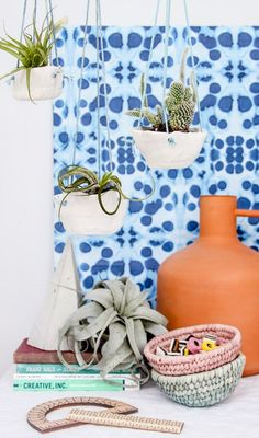 DIY Clay Hanging Planters