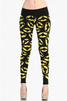 OMG Batman Bat Girl Leggings - Yellow / Black