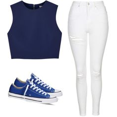 Simple white jeans with a simple blue top