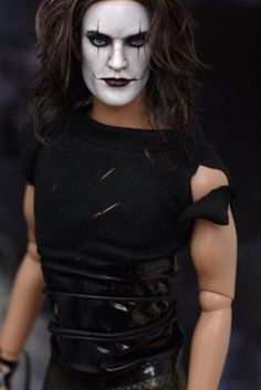 """Repaints By IsaBelle; Brandon Lee as """"The Crow."""", Male Action Figure/Doll."""