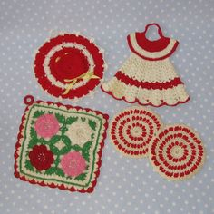 Vintage Crocheted Pot Holder Dress Hat Red White Set by PeaPickins, $7.00