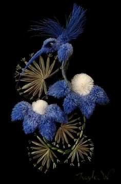tw-blue h-bird two blue flowers-smartists/moose-hair-tufting/ Tufting Diy, Aboriginal Culture, Cultural Identity, Native American Beadwork, Birch Bark, Indigenous Art, Gourd Art, First Nations, Beaded Embroidery