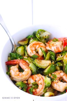 Honey Sesame Shrimp with Brussels Sprouts Stir-Fry | gimmesomeoven.com