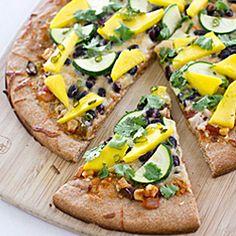 Spicy Mango Pizza with Black Beans & Zucchini - YUM!