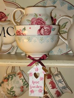 Emma Bridgewater Mary MacCarthy Rose and Scattered Rose French Bowl stacking!.......