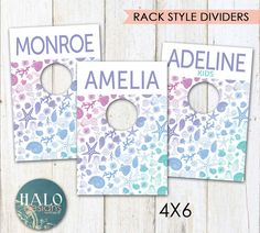 PRINTED Style Rack Dividers  SHELLS by HALOdesignsSHOP on Etsy