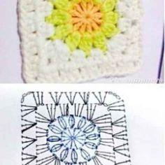 Crochet Quilt Pattern, Crochet Flower Patterns, Crochet Blanket Patterns, Crochet Motif, Crochet Stitches, Knit Crochet, Knitting Patterns, Diy Crochet Granny Square, Granny Square Crochet Pattern