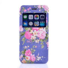 Folio Double Sides Stand Caller ID Window PC + PU Leather Oracle Texture Flower Pattern Case for iPhone 6 6S Purple