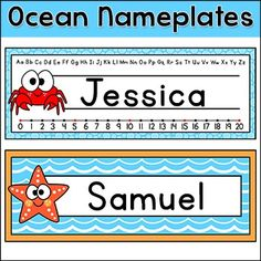 Ocean Theme Classroom Decor - Name Plates: These fun Ocean / Under the Sea theme name plates will look fantastic on students desks! You can either write the students names by hand or edit the included PowerPoint file.Note: This product can be purchased as part of my Ocean Theme Decor Bundle at a discount of over 50%!This product includes two name plate formats.