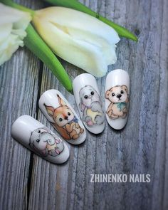 Nail art Christmas - the festive spirit on the nails. Over 70 creative ideas and tutorials - My Nails Cute Nails, Pretty Nails, My Nails, Cartoon Nail Designs, Nail Art Designs, American Nails, Animal Nail Art, Easter Nail Art, Disney Nails