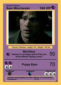 Sam Winchester Pokemon Card ~Supernatural