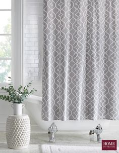 Bring a classy and attractive look to your bathroom with this classic Home Decorators Collection Nuri Shower Curtain in Pewter. Linen Cabinets, Shower Accessories, Wall Accessories, Storage Spaces, Home Goods, Sweet Home, New Homes, Interior Design, Bath Tub