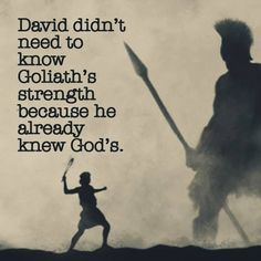 ...if we could only remember that!! Our God is Greater than Any giant we may ever face!!!