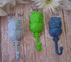 3 Light Blue Lime Teal Owl Iron Wall Hooks. Shabby Retro. Cottage Chic. Modern Urban Owl Nursery Home Kitchen Bath Office Decor. $33.00, via Etsy.