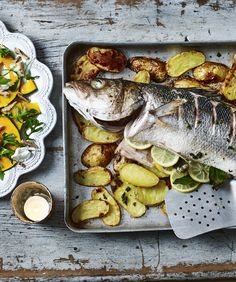 Whole Sea Bass Baked on Anchovy and Garlic Potatoes with a Pickled Pumpkin and Walnut Salad Recipe | BBC Food