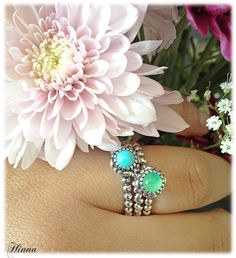 Chryoprase and Turquoise birthstone rings 190854CH and 190854TQ with a Valentine heart ring.  Great combination!