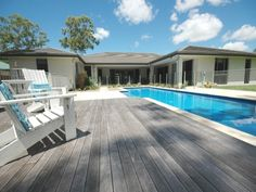 In-ground pool design using tiles with decking & outdoor furniture setting - Pool photo 298324 Swimming Pool Plan, Swimming Pool Photos, Decks Around Pools, Pool Decks, Pool Images, Timber Deck, Backyard, Patio, Deck Design