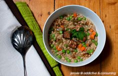 Miso barley risotto with tempeh and tofu