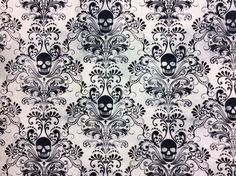 TT67 Gothic Skull Damask Scary Halloween Tattoo Dead Cotton Quilting Fabric | eBay