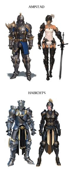 Arte y Conceptos Fantasía-RPG Parte I like the lower left's castled crown and pauldron. The upper right needs to fire her current squire, and get one who can fasten her breastplate and gorget properly. Character Design Cartoon, Character Design References, Game Character, Character Concept, Comic Character, Fantasy Armor, Medieval Fantasy, Dark Fantasy, Armadura Medieval