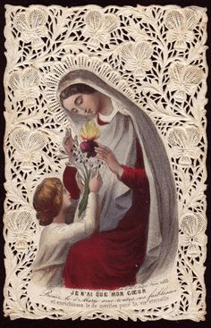 My Mother's Holy Cards: The Robber of Hearts Religious Images, Religious Icons, Religious Art, Vintage Holy Cards, Vintage Christmas Cards, Blessed Mother Mary, Blessed Virgin Mary, Image Jesus, Jesus E Maria