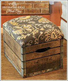 DIY Ottoman from vintage milk crate