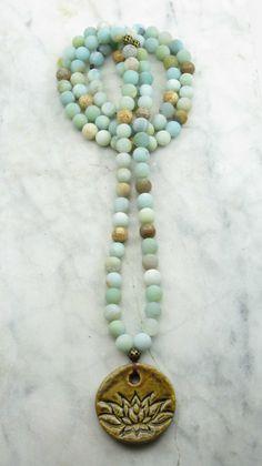 Pacific Heart Mala Beads - Amazonite - Malas, Buddhist Prayer Beads, 108 Mala Beads -Truth, communication, harmony, on Etsy, $100.00