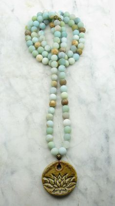 Pacific Heart Mala Beads - Amazonite - Malas, Buddhist Prayer Beads, 108 Mala Beads -Truth, communication, harmony,