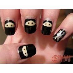 Ninja nail art with a shuriken accent nail. Flippin' LOVE this.