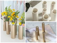 21 Amazing DIY PVC Pipes Projects That Will Blow Your Mind - Homesthetics - Inspiring ideas for your home.DIY -PVC Pipe Modern Spring Centerpieces Beautify your indoor decor with these nice centerpieces!we have shared here these special 48 DIY PVC pi Diy Craft Projects, Diy Projects Using Pvc Pipe, Pvc Pipe Crafts, Decor Crafts, Diy And Crafts, Sewing Projects, Pot Mason Diy, Mason Jar Crafts, Mason Jars
