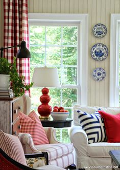 Sun Room, Pottery Barn sofa, Pottery Barn pillows, Pottery Barn chair, red checked curtains, transferware, painted furniture