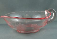 Vintage Pink Glass Heart Handled Bowl Pitcher Cornflower Daisy Etched Pressed 7""