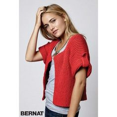 Free Knitting Pattern for Side Street Cardigan - This short sleeved cardigan is knit in one piece from side to side in garter stitch. Sizes XS to Quick knit in bulky yarn. Rated beginner level by Yarnspirations Knit Cardigan Pattern, Crochet Jacket, Sweater Knitting Patterns, Easy Knitting, Crochet Cardigan, Knit Patterns, Knit Crochet, Crochet Beanie, Stitch Patterns
